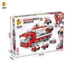 PanlosBrick Panlos Brick 659003 Xếp hình kiểu LEGO Transformers Blinding Block Storage Deformation Car Máy biến áp khối xây dựng: Fire Series 6in1 Mecha biến dạng 655 khối