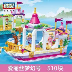 GUDI 9017 Xếp hình kiểu Lego Alice's Fantasy Boat Alice Princess Alice Fantasy Number Công Chúa Alice Giấc Mơ Alice 510 khối