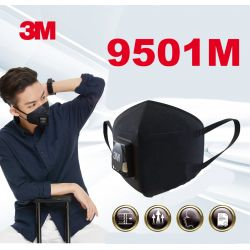Một cái Khẩu trang 3M 9501M KN95 lọc hơn 95% bụi siêu mịn PM2.5 có van thở, đệm mũi êm, chun vải mềm đen nam tính chính hãng