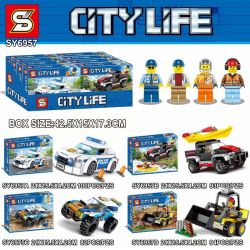 Lepin 02135 02136 02121 02133 Sheng Yuan 6957 SY6957 Lari 11206 11217 11218 11219 (NOT Lego City 60239 60240 60218 60219 Police Patrol Car Kayak Adventure Desert Rally Racer Construction Loader ) Xếp hình Xe Đua, Xe Cảnh Sát, Xe Bán Tải, Xe Ủi lắp được 4 mẫu 369 khối
