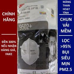 Một cái khẩu trang 3M 9502+ KN95 lọc hơn 95% bụi siêu mịn PM2.5 và độc với màng than hoạt tính chun vải mềm đeo đầu chính hãng tốt nhất 3M