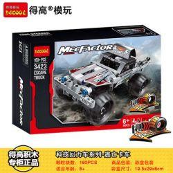NOT Lego TECHNIC 42090 Getaway Truck, Decool 3423 Jisi 3423 LARI 11295 LEPIN 20093 Xếp hình Xe tải thoát hiểm 128 khối có động cơ kéo thả