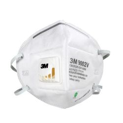 Một cái khẩu trang 3M 9002V KN90 lọc hơn 90% bụi siêu mịn PM2.5 , đeo đầu, chun tổng hợp, chính hãng