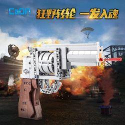 DoubleE Cada C81011 Xếp hình kiểu LEGO Block Gun Block Gun Súng lục ổ quay 475 khối