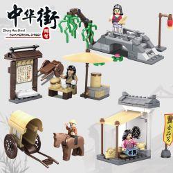 Kazi KY5007 5007 Xếp hình kiểu Lego MINI MODULAR Zhong Hua Street Commercial Street Zhonghua Street Commercial Street House Scene 4 Sets Of Big Man Buns, Freight Carriage, Yangliuqiao, Mingxiang Tea B