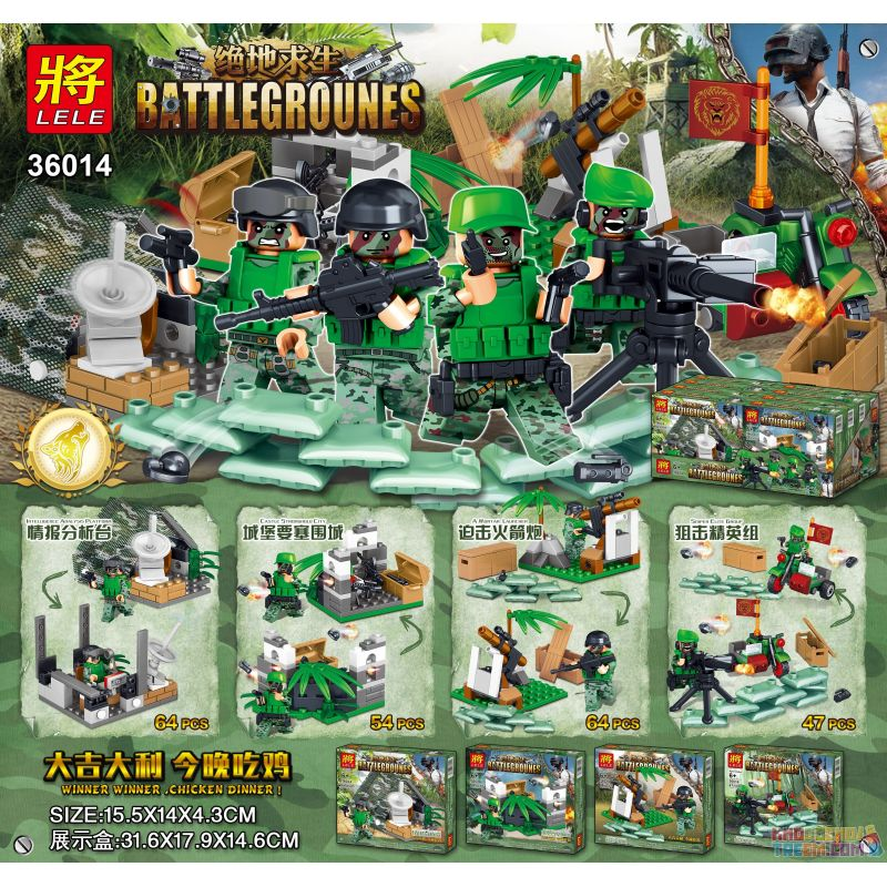 LELE 36014 36014-1 36014-2 36014-3 36014-4 Xếp hình kiểu Lego PUBG BATTLEGROUNDS Battlegrounes PlayerUnknown's Battlegrounds Minifigures 4 Styles Minifigures 4 Kiểu gồm 4 hộp nhỏ 229 khối