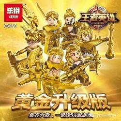 LEPIN 03076 03076A 03076B 03076C 03076D 03076E 03076F Xếp hình kiểu Lego KING OF GLORY HEGEMONY King Hero House 6 Gold Upgrade Version Minifigures 6 Phiên Bản Nâng Cấp Vàng gồm 6 hộp nhỏ 200 khối