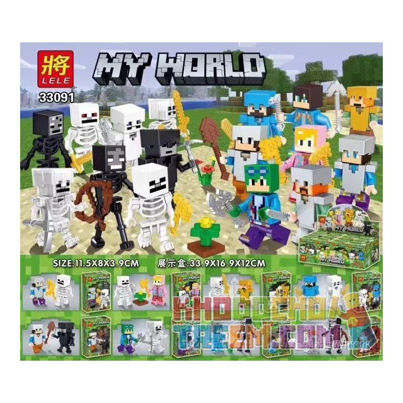 LELE 33091 Xếp hình kiểu Lego MINECRAFT MY WORLD 8 Models 8 Nhân Vật Nhỏ Và Bộ Xương