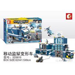 SHENG YUAN SY SD9816 9816 Xếp hình kiểu Lego FUTURE POLICE Dragon Anger Mobile Prison Deformation Car Xe Biến Hình Nhà Tù Di động 960 khối