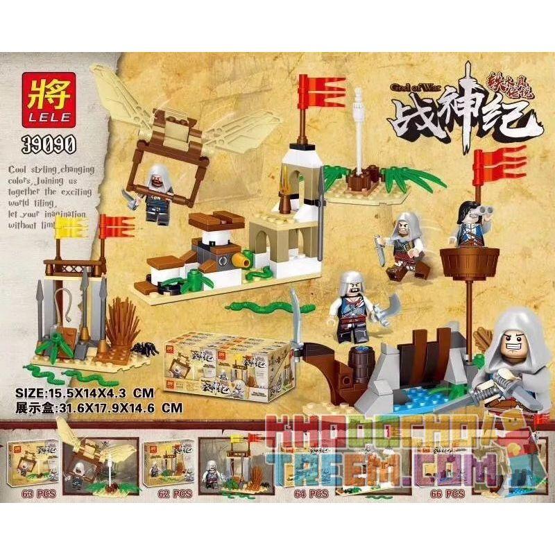 LELE 39090 39090A 39090B 39090C 39090D Xếp hình kiểu Lego GOD OF WAR Tiemu Legend Tips 4 4 Cảnh Nhỏ Của The Legend Of Temujin gồm 4 hộp nhỏ 255 khối