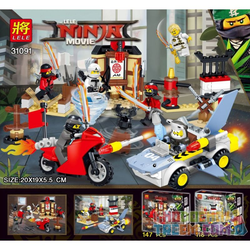 LELE 31091 31091-1 31091-2 Xếp hình kiểu THE LEGO NINJAGO MOVIE The LELE Ninja Movie Ninja Confronted The Small Scene Of The People Ninja Vs. Minifigure Scene 2 gồm 2 hộp nhỏ 263 khối