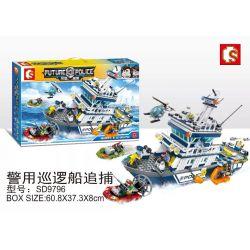 SHENG YUAN SY SD9796 9796 Xếp hình kiểu Lego FUTURE POLICE Dragon Anger Police Patrol Boat Cảnh Sát Tàu Tuần Tra đuổi Theo 869 khối