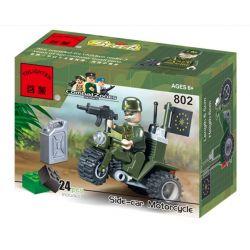 Enlighten 802 Qman 802 Xếp hình kiểu Lego MILITARY ARMY CombatZones Side-car Motorcycle Tricycle Xe Ba Bánh 24 khối