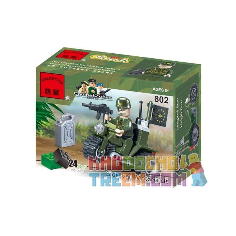 Enlighten 802 Qman 802 KEEPPLEY 802 Xếp hình kiểu Lego MILITARY ARMY CombatZones Side-car Motorcycle Tricycle Xe Ba Bánh 24 khối
