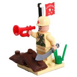 Enlighten 807 Qman 807 Xếp hình kiểu Lego MILITARY ARMY CombatZones Cornets Blow Người Thổi Kèn 17 khối