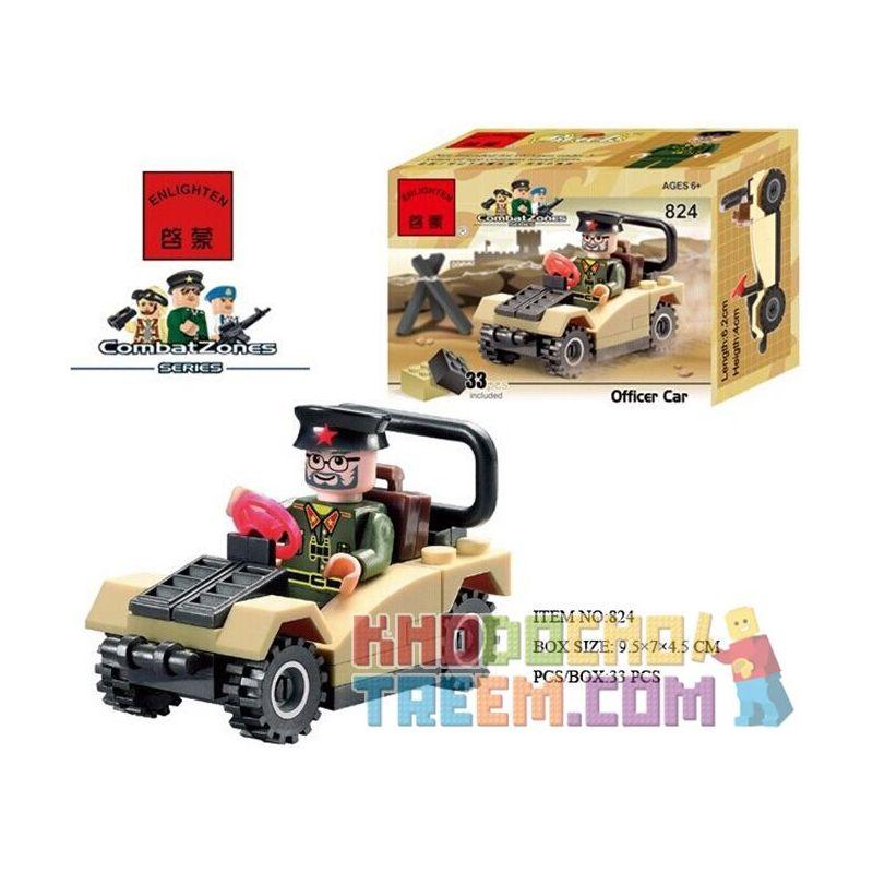 Enlighten 824 Qman 824 Xếp hình kiểu Lego MILITARY ARMY CombatZones Officer Car Military Officer Car Xe Cán Bộ 33 khối