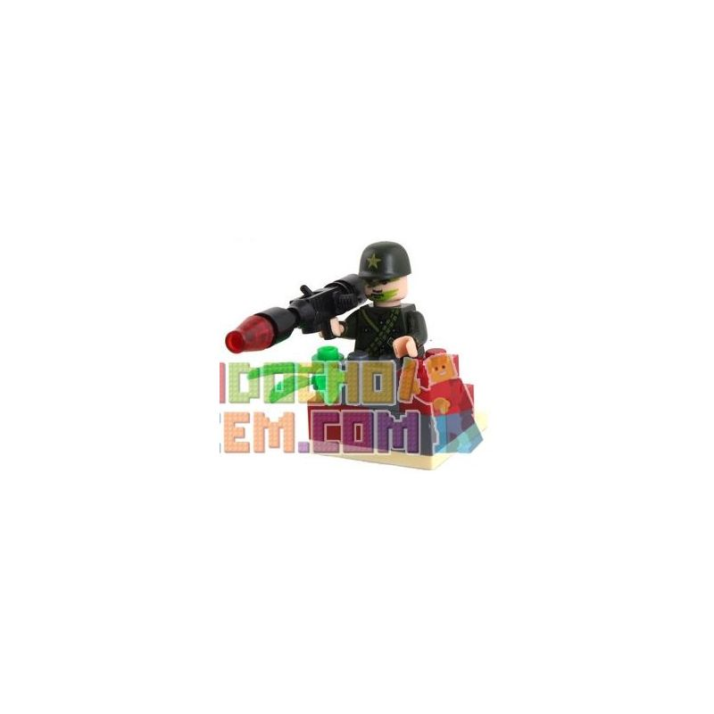 Enlighten 828 Qman 828 Xếp hình kiểu Lego MILITARY ARMY CombatZones Artilleryman Pháo Binh 18 khối