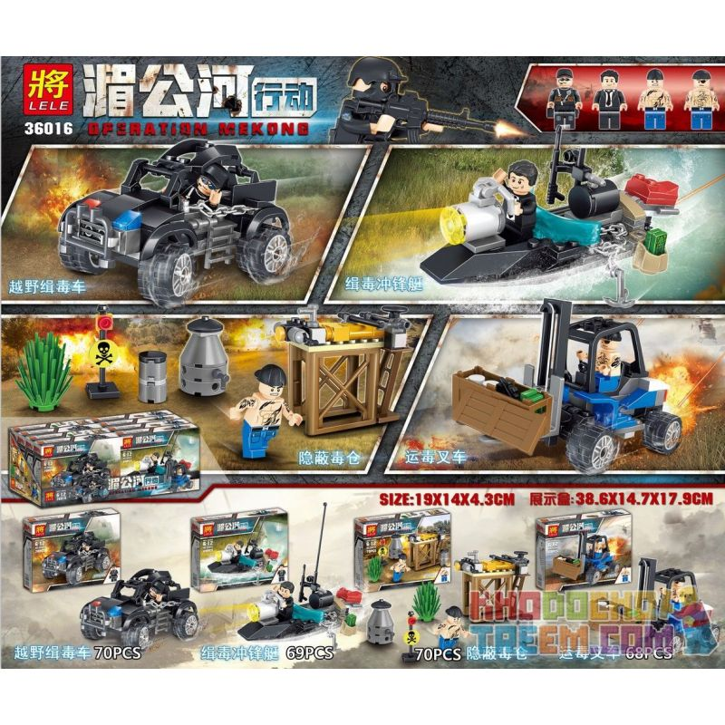 LELE 36016 36016-1 36016-2 36016-3 36016-4 Xếp hình kiểu Lego OPERATION MEKONG Mekong Action Small Scene 4 4 Cảnh Nhỏ Operation Mekong 4 Cảnh Nhỏ gồm 4 hộp nhỏ 277 khối
