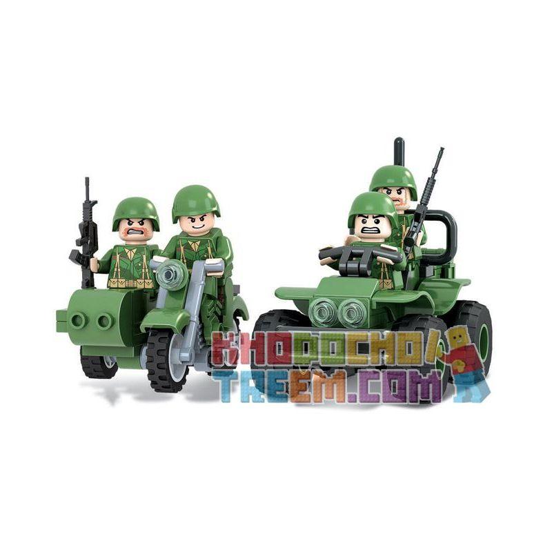 Winner 8001 Xếp hình kiểu Lego TANK BATTLE TankBattle Land War Reconnaissance Small Team Đội Hướng đạo 117 khối