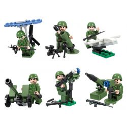 WINNER JEMLOU 8013 8013A 8013B 8013C 8013D 8013E 8013F Xếp hình kiểu Lego TANK BATTLE TankBattle Land War Soldier People 6 Soldier Minifigures 6 Mặt Hàng gồm 6 hộp nhỏ