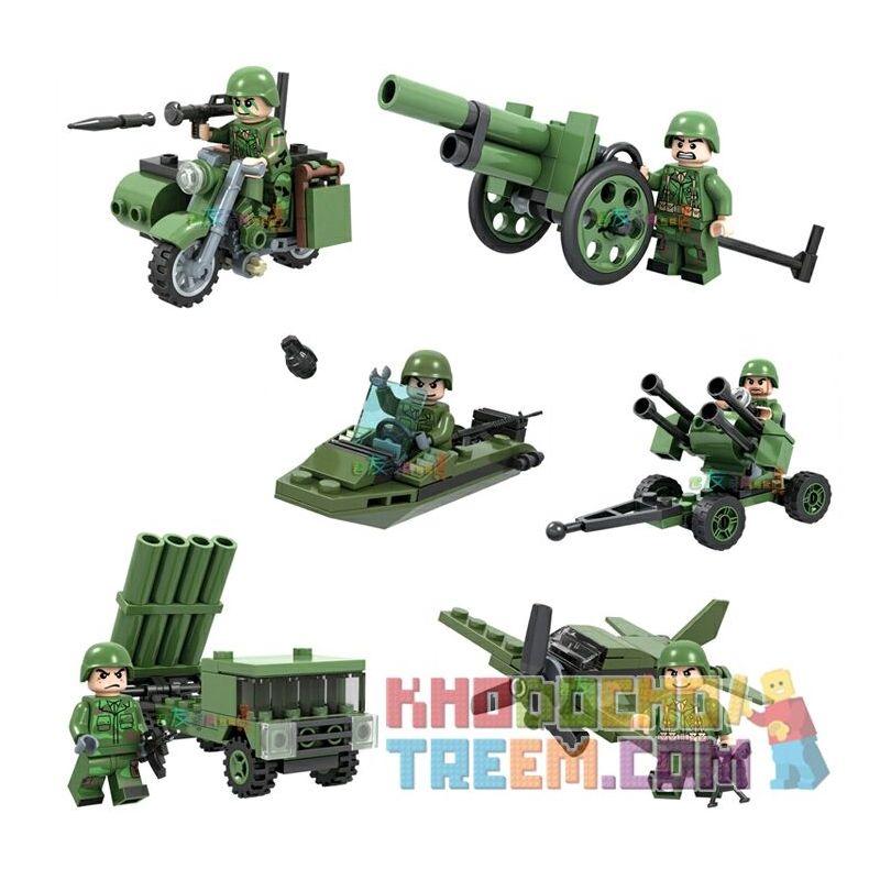 WINNER JEMLOU 8014 8014A 8014B 8014C 8014D 8014E 8014F Xếp hình kiểu Lego TANK BATTLE TankBattle Land War Arms 6 6 Cánh Tay Minifigures gồm 6 hộp nhỏ