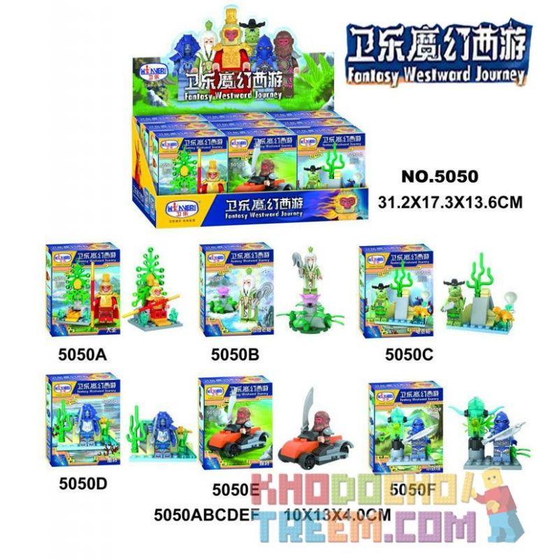 WINNER JEMLOU 5050 5050A 5050B 5050C 5050D 5050E 5050F Xếp hình kiểu Lego MONKIE KID Fantasy Westward Journey Wei Music Magic Westward Journey Human Small Scene 6 Minifigures 6 Mô Hình gồm 6 hộp nhỏ 1