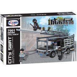 Winner 7001 Xếp hình kiểu Lego City SWAT Urban Special Police Explosion-proof Cloud Ladder Xe Thang Chống Cháy Nổ 240 khối