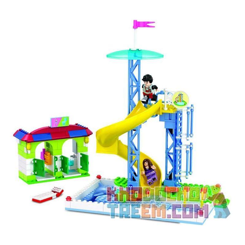 Winner 7042 Xếp hình kiểu Lego City Modern Paradise Cyclone Slide Cầu Trượt Xích đu 228 khối