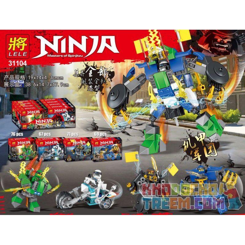 LELE 31104 31104-1 31104-2 31104-3 31104-4 Xếp hình kiểu Lego SUPER HEROES Nick Knights Masters Of Spinjitzu 4 Models Of Machine Armor Quân đoàn Cơ Giới 4 gồm 4 hộp nhỏ 283 khối