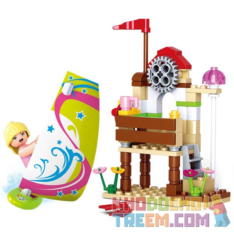 SLUBAN M38-B0601 B0601 0601 M38B0601 38-B0601 Xếp hình kiểu Lego GIRL'S DREAM Windsurf Adventures Dolphin Bay Pink Dream Flavor Bảng Sóng Gió Vui Nhộn 84 khối