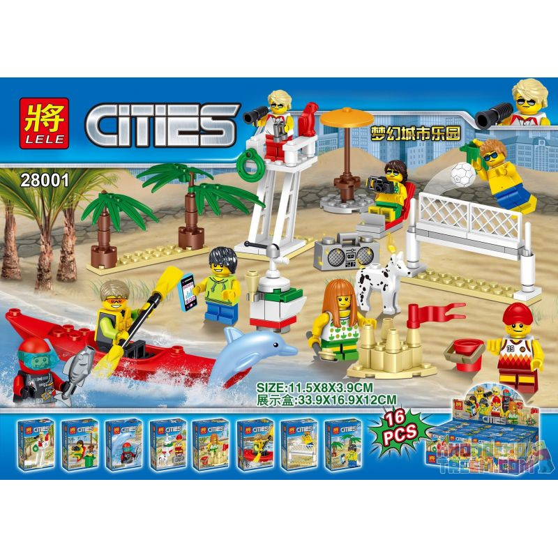 LELE 28001 Xếp hình kiểu Lego CITY Dream City Paradise Beach House Combination 8 Dream City Paradise Beach Minifigure Bộ 8