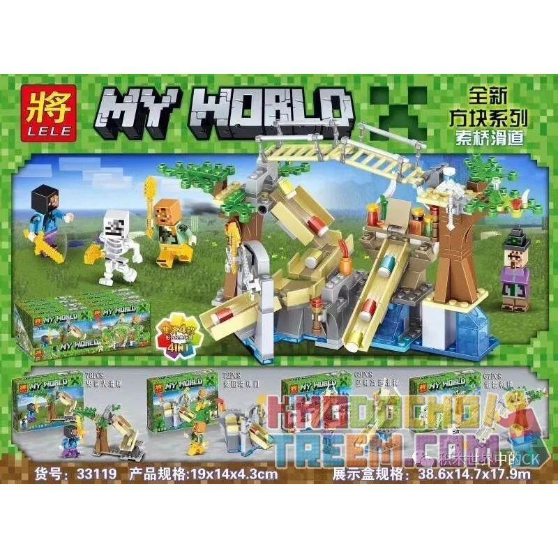 LELE 33119 33119-1 33119-2 33119-3 33119-4 Xếp hình kiểu Lego MINECRAFT MY WORLD 4 Models Of Cable Bridge Slide Cầu Trượt Cáp Kết Hợp 4 Kiểu gồm 4 hộp nhỏ 280 khối