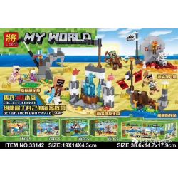 LELE 33142 33142-1 33142-2 33142-3 33142-4 Xếp hình kiểu Lego MINECRAFT MY WORLD Pirate Camp 4 Trại Hải Tặc 4 gồm 4 hộp nhỏ 268 khối