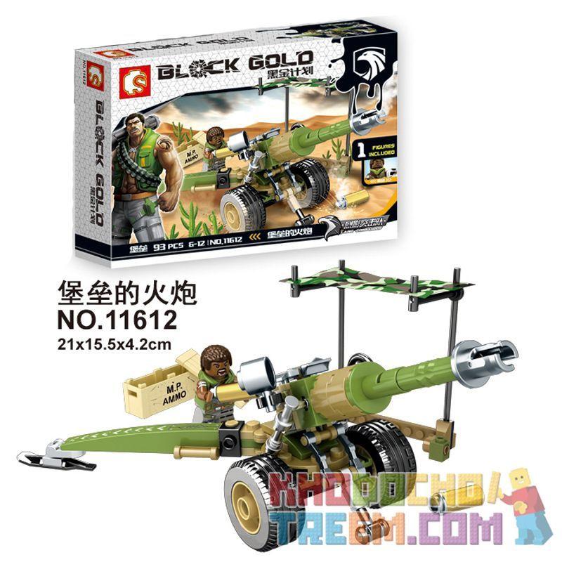SEMBO 11612 Xếp hình kiểu Lego Black Gold Fortress Artillery Pháo đài 93 khối