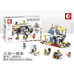 SHENG YUAN SY SD6970 6970 Xếp hình kiểu Lego CREATOR 3 IN 1 RV, Vacation Cottage, Yacht Three In One RV, Cabin Kỳ Nghỉ, Du Thuyền Ba Trong Một 662 khối