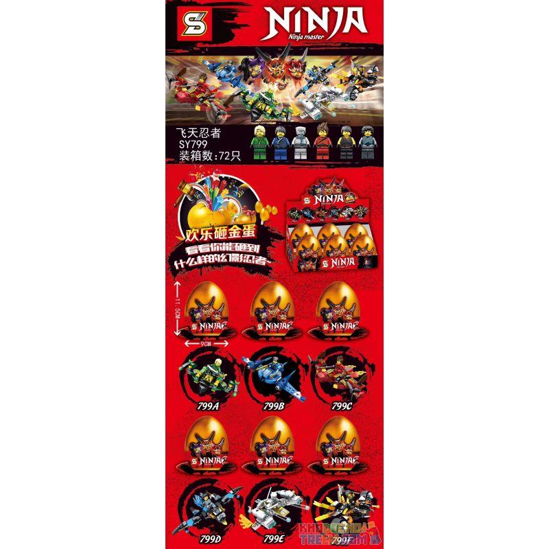 SHENG YUAN SY 799 SY799 SY799A 799A SY799B 799B SY799C 799C SY799D 799D SY799E 799E SY799F 799F Xếp hình kiểu THE LEGO NINJAGO MOVIE Ninja Ninja Master Golden Eggs Flying Torker 6 Models Golden Egg Fl
