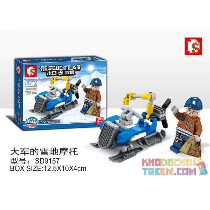 SEMBO SD9157 9157 Xếp hình kiểu Lego RESCUE TEAM Doomsday Rescue Snow Motorcycle For The Army Đội Quân Xe Trượt Tuyết 38 khối