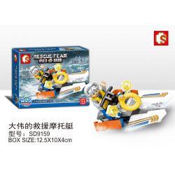 SEMBO SD9159 9159 Xếp hình kiểu Lego RESCUE TEAM Doomsday Rescue Dawei Rescue Motorboat Thuyền Máy Cứu Hộ Của Dawei 42 khối