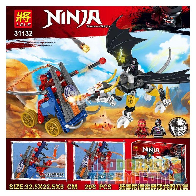 LELE 31132 Xếp hình kiểu THE LEGO NINJAGO MOVIE Ninja Masters Of Spinjitzu Invasion Against The Dragon Dragon Of Nirojo Bảo Vệ Chống Lại Sự Xâm Lược Của ác Rồng Nidhho 206 khối