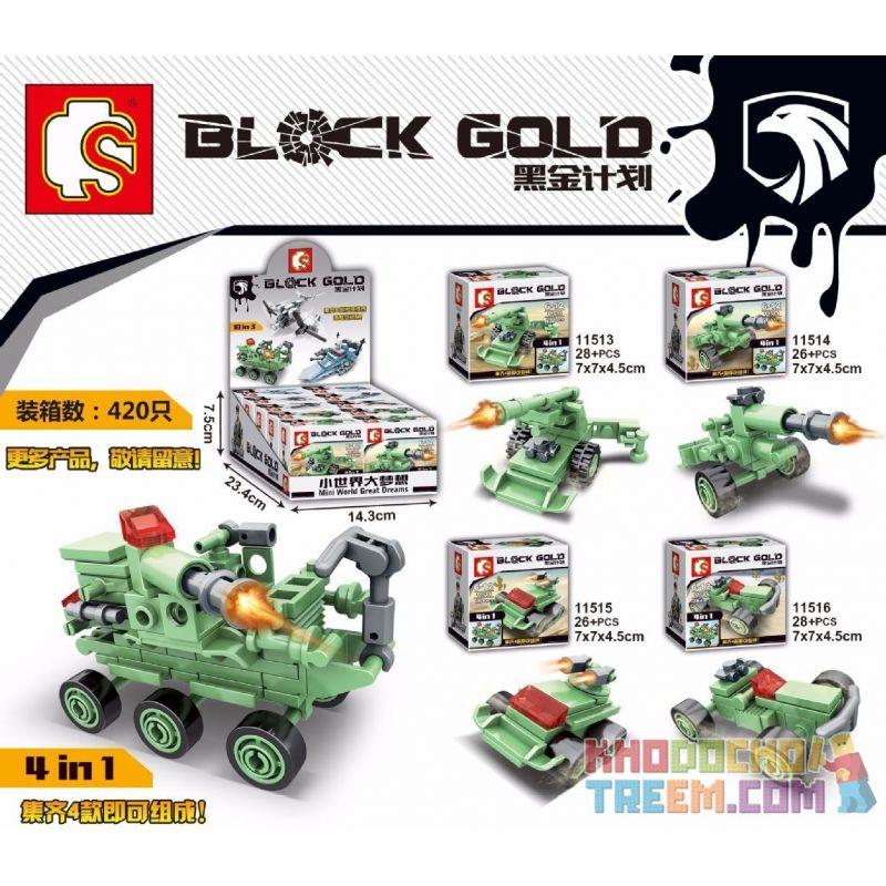 SEMBO 11517 11518 11519 Xếp hình kiểu Lego BLACK GOLD Black Plan Four Combination Of Four Four-in-one Combination 4 Cỗ Xe, Kết Hợp 4 Trong 1 gồm 2 hộp nhỏ 79 khối