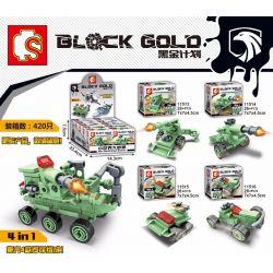 SEMBO 11520 11521 11522 Xếp hình kiểu Lego BLACK GOLD Black Plan Four Combination Of Four Four-in-one Combination 4 Cỗ Xe, Kết Hợp 4 Trong 1 gồm 2 hộp nhỏ 75 khối