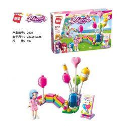 Enlighten 2008 Qman 2008 Xếp hình kiểu Lego CHERRY Colorful Holiday Rainbow Balloon Station Cầu Vồng Bóng đứng 107 khối