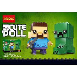Decool 6601 Jisi 6601 Xếp hình kiểu Lego BRICKHEADZ BrickHeadz Steve & Creeper Fangchai Steve And Suffering Steve & Creeper 160 khối