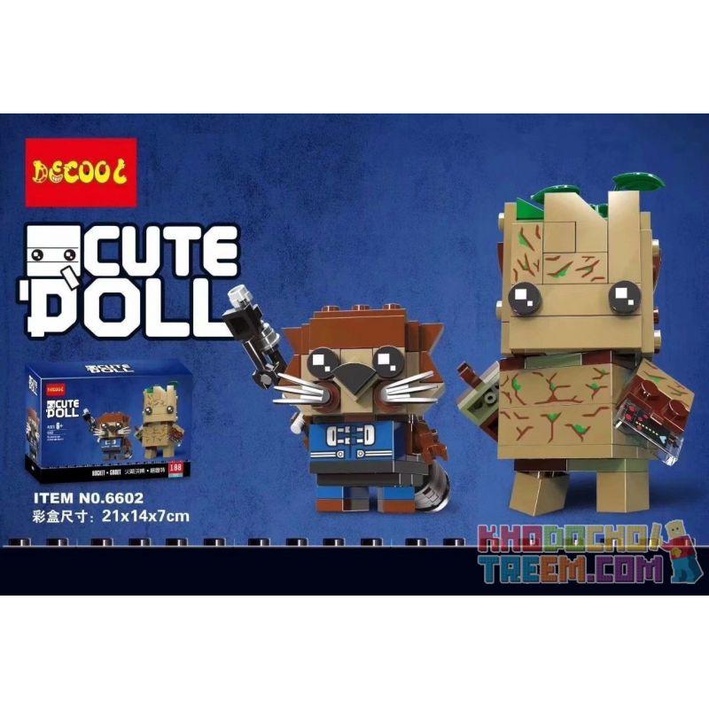 NOT Lego BRICKHEADZ 41626 Groot & Rocket, Decool 6602 Jisi 6602 Xếp hình Big & Rocket 189 khối