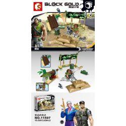 SEMBO 11597 Xếp hình kiểu Lego BLACK GOLD Black Plan Fortress's Gunpoint Pháo đài Của Pháo đài 65 khối
