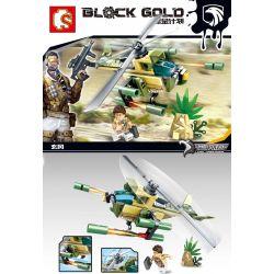 SEMBO 11598 Xếp hình kiểu Lego BLACK GOLD Xuanfeng's Helicopter Trực thăng của Xuanfeng 81 khối