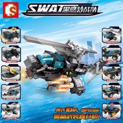 SEMBO 102001 102002 102003 102004 102005 102006 102007 102008 102009 102010 10206 Xếp hình kiểu Lego SWAT SPECIAL FORCE Black Eagle Police Armed Helicopter 10 10 Loại Trực Thăng An Ninh gồm 10 hộp nhỏ