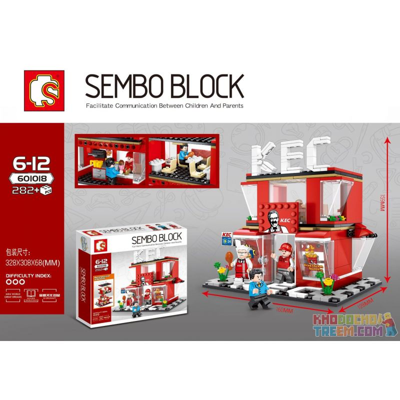 SHENG YUAN SY 601018 Xếp hình kiểu Lego MINI MODULAR KFC Spicy Fin Shop KEC 282 khối