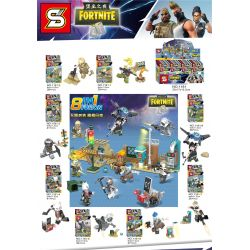 SHENG YUAN SY 1181 1181-1 1181-2 1181-3 1181-4 1181-5 1181-6 1181-7 1181-8 Xếp hình kiểu Lego FORNITE Fortnite Fortress Night House 8 Fortnite Minifigure 8 Mô Hình gồm 8 hộp nhỏ 278 khối