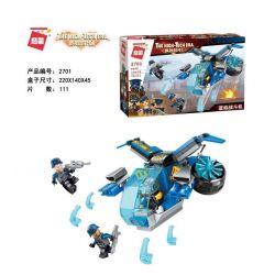 Enlighten 2701 Qman 2701 Xếp hình kiểu Lego THE HIGH-TECH ERA Technology Era I Blue Flame Fighter Máy Bay Chiến đấu Ngọn Lửa Xanh 111 khối